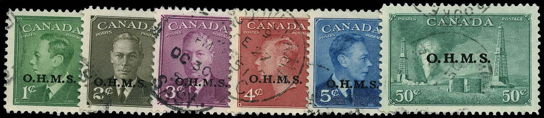 CANADA 1949  SGO172/7 Official set of 6 to 50c