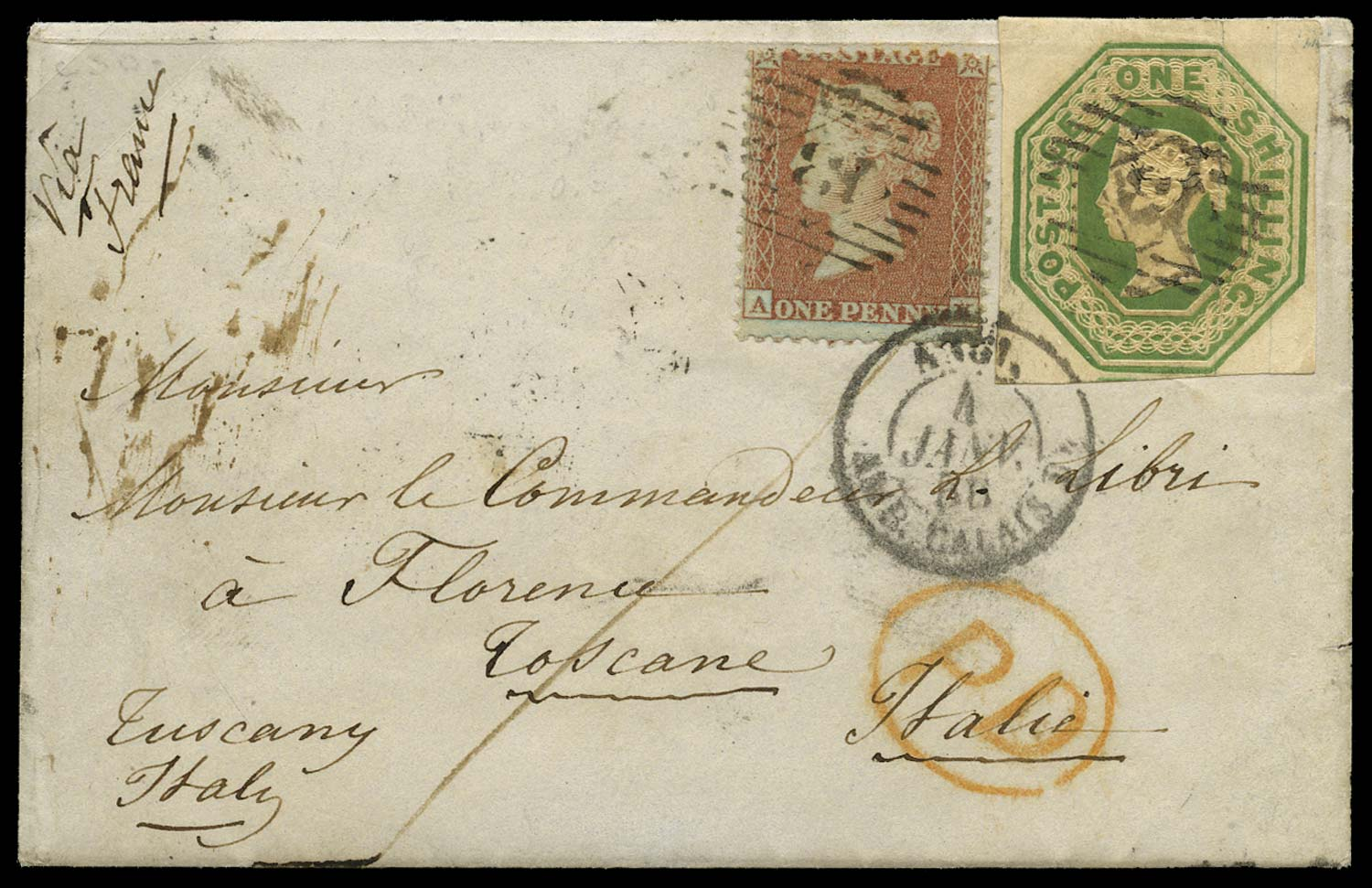 GB 1856  SG22,55 Cover to Florence