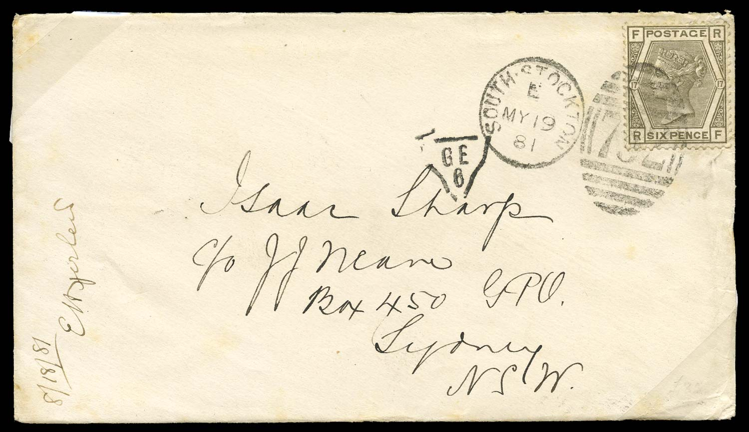 GB 1881  SG161 Cover to Sydney N.S.W.