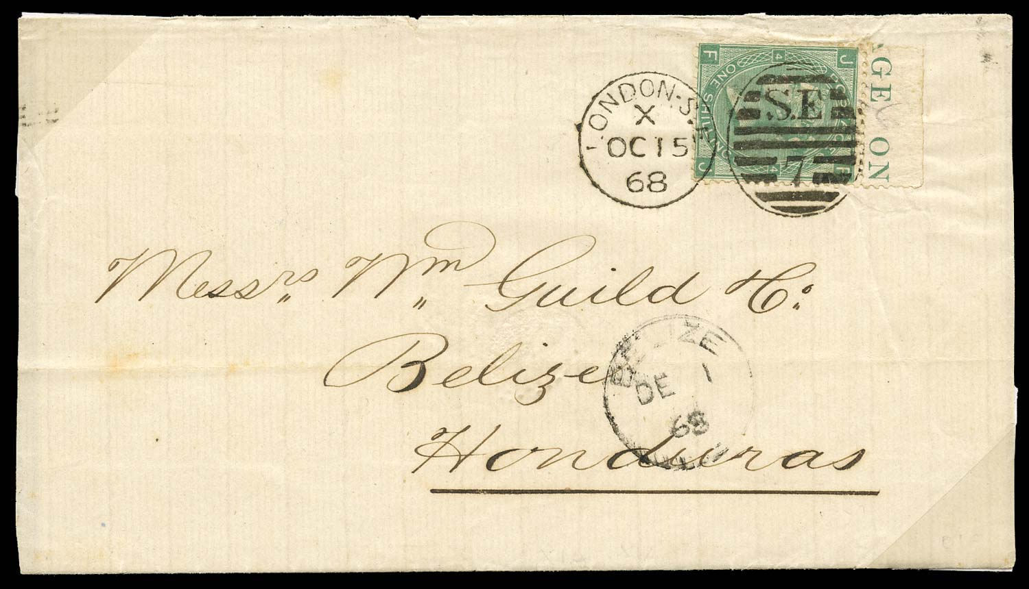 GB 1868  SG115 Pl.4 Cover to Belize, Brit. Honduras