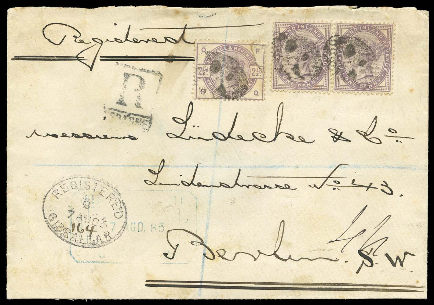 GIBRALTAR 1885  SGZ77, 80 Cover
