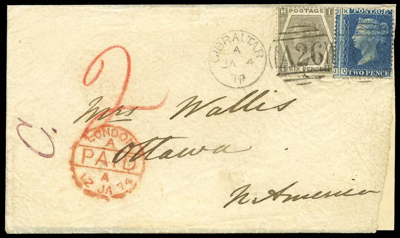 GIBRALTAR 1871  SGZ22, 49 Cover