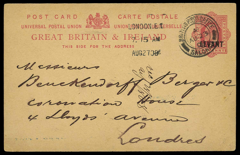 BRITISH LEVANT 1908 Cover