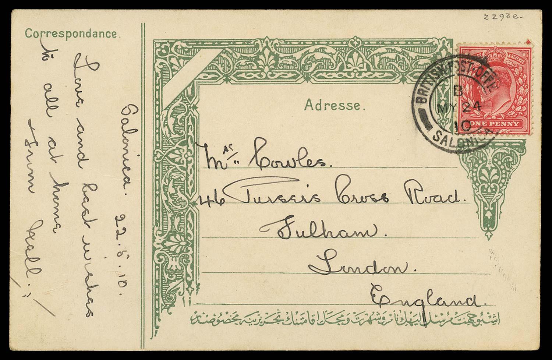 BRITISH LEVANT 1910  SGZ209a Cover
