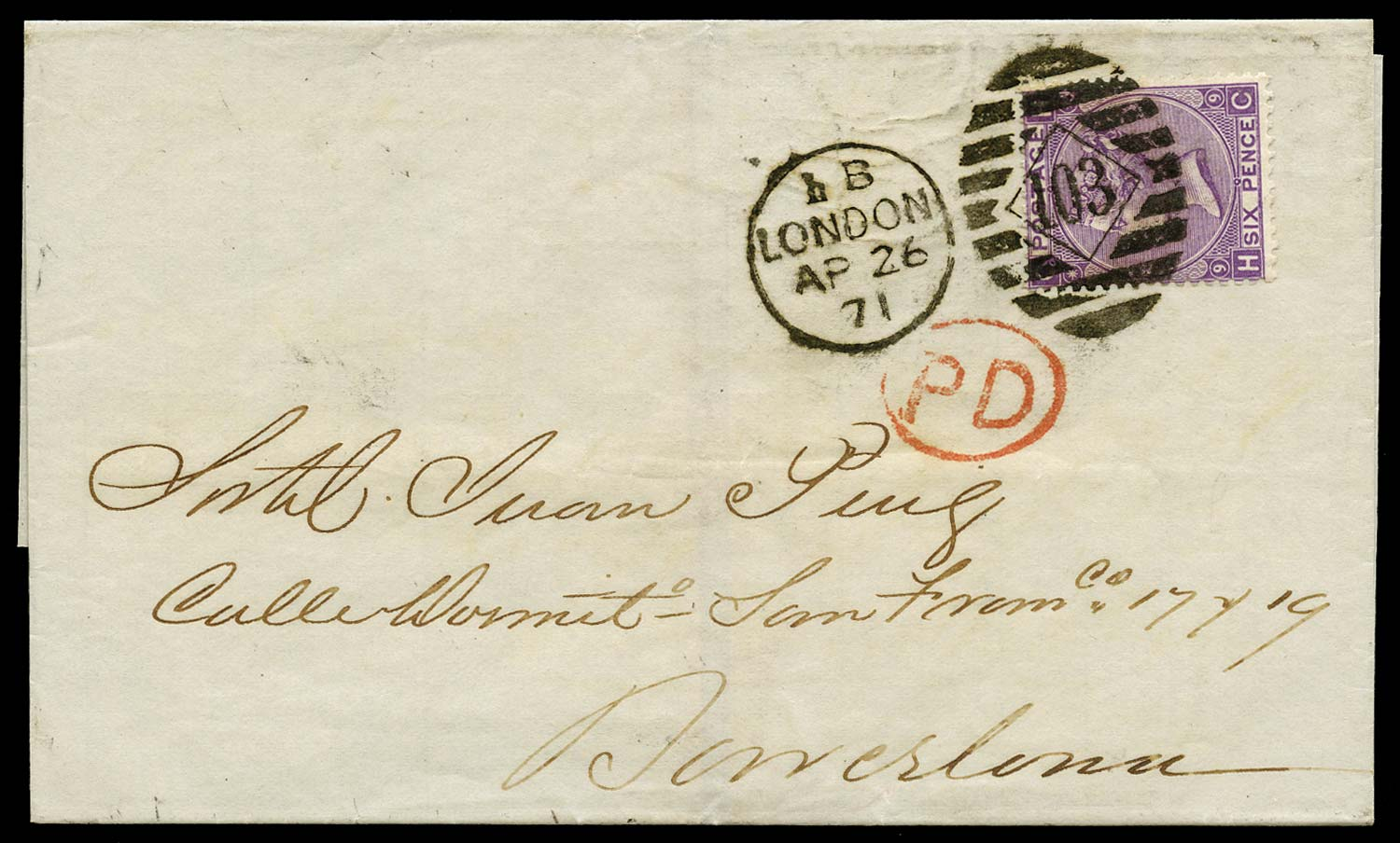 GB 1870  SG109 Cover to Barcelona