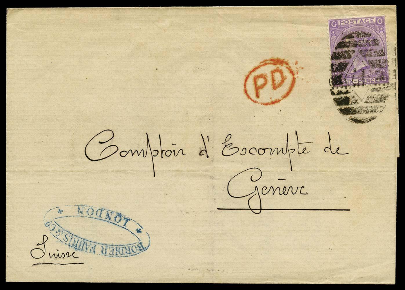 GB 1868  SG106 Pl.6 Cover London to Geneva