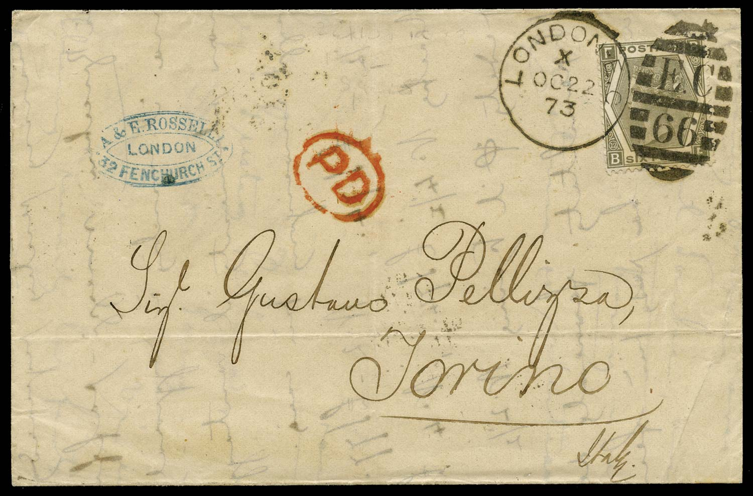 GB 1873  SG125 Pl.12 Cover London to Torino