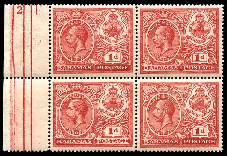 BAHAMAS 1920  SG107 Mint Peace 1d carmine plate number 2