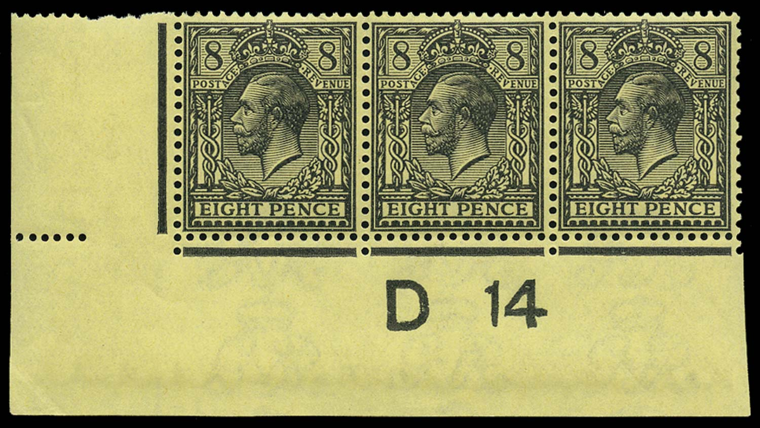 GB 1914  SG390 Mint D14 control strip of three