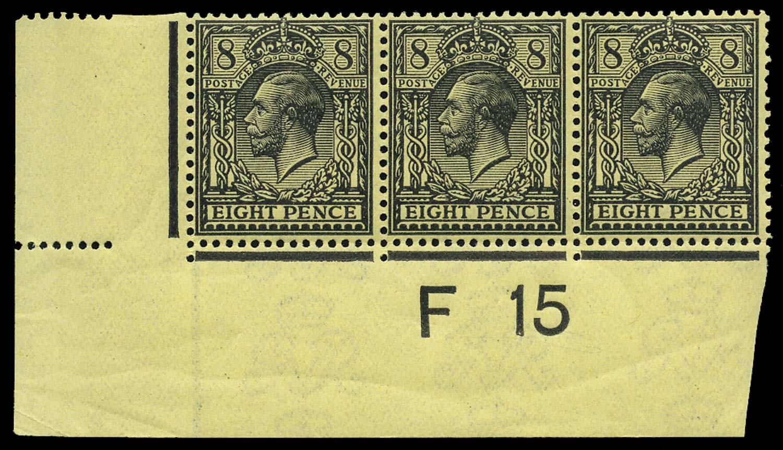 GB 1915  SG390 Mint F15 control strip of three