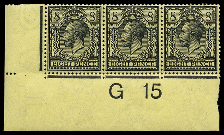 GB 1915  SG390 Mint G15 control strip of three