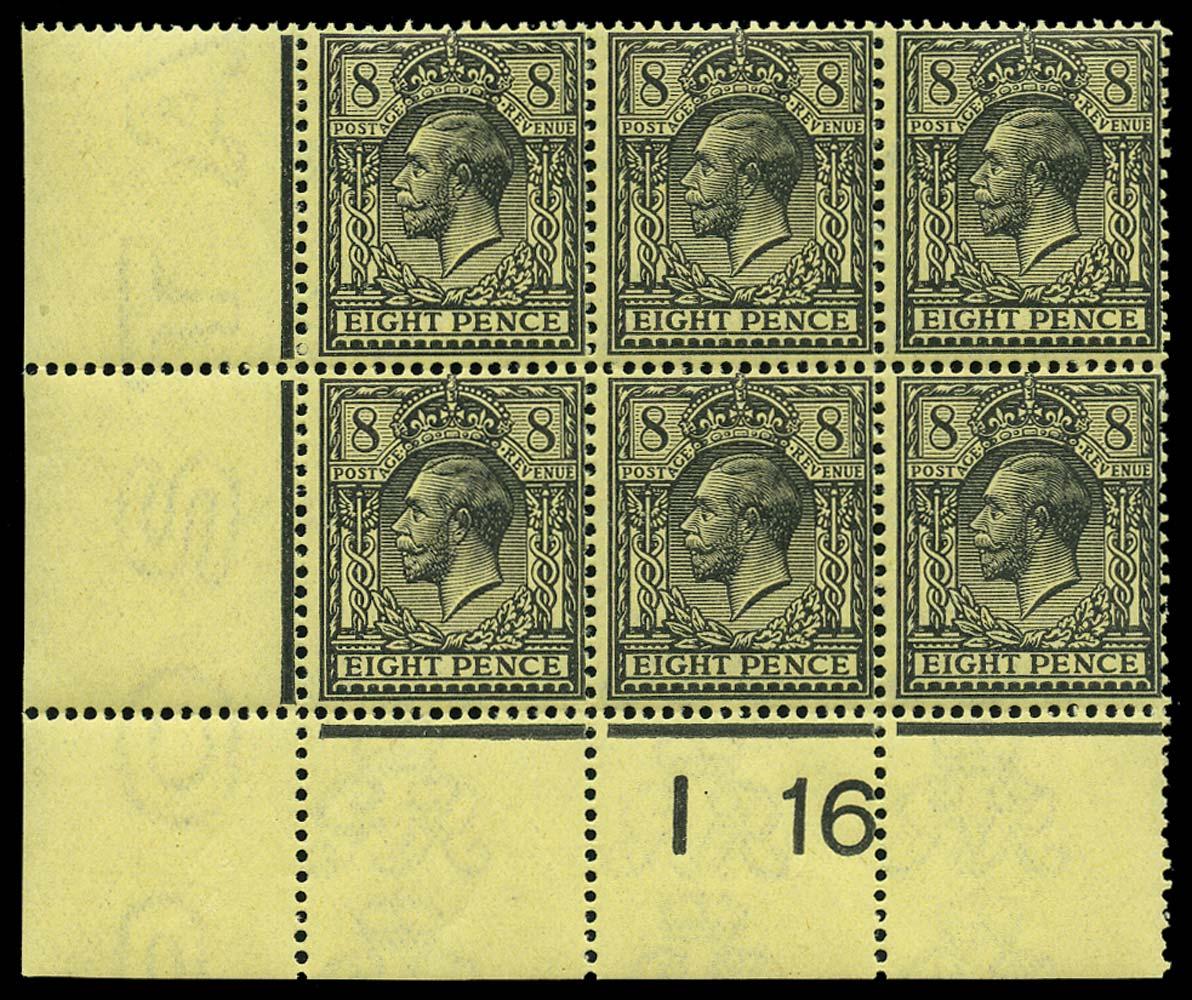 GB 1916  SG390 Mint I16 control strip of three