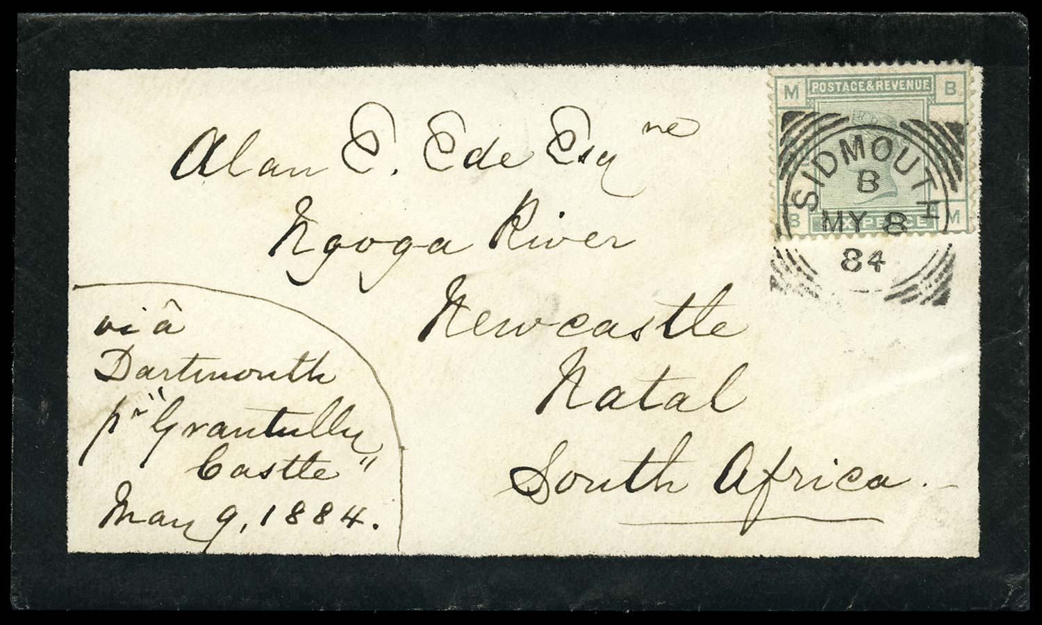 GB 1884  SG194 Cover to Newcastle, Natal