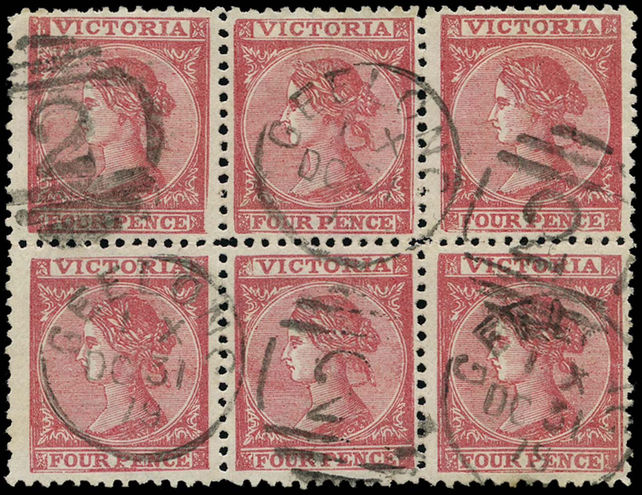VICTORIA (AUS) 1867  SG144c Used 4d dull rose-red Laureate earliest recorded usage