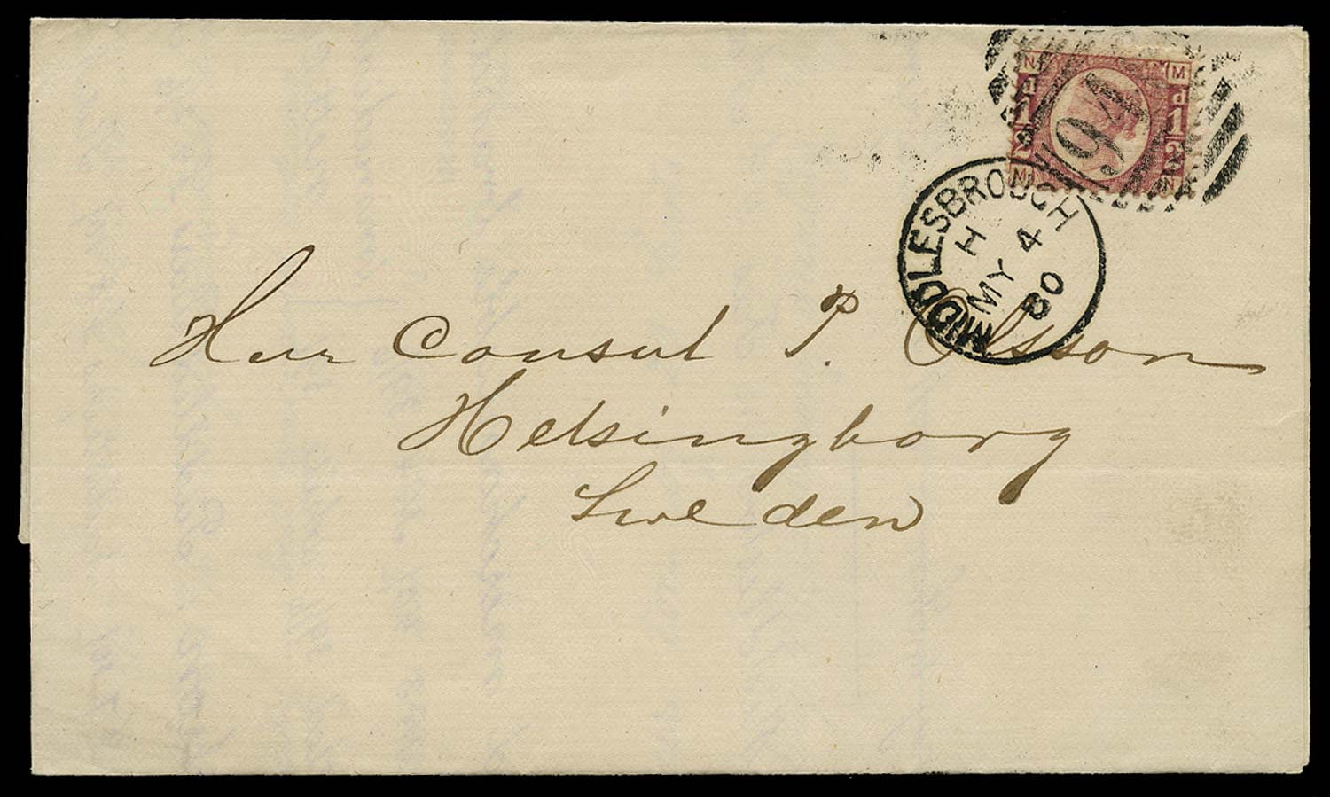 GB 1880  SG48 Pl.11 Cover - printed matter rate to Sweden