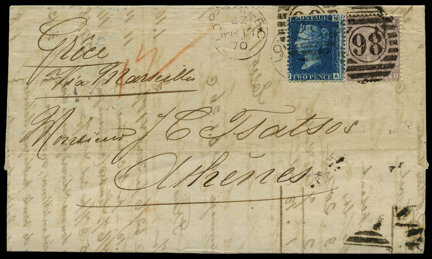 GB 1870  SG47,108 Cover