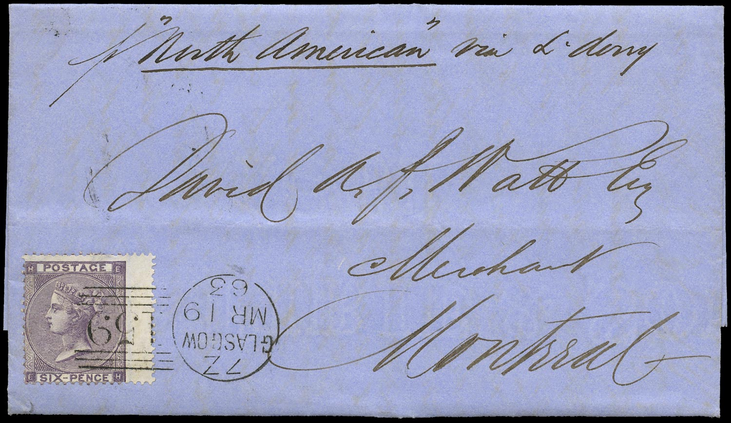 GB 1863  SG83 Pl.3 Cover to Montreal, Canada