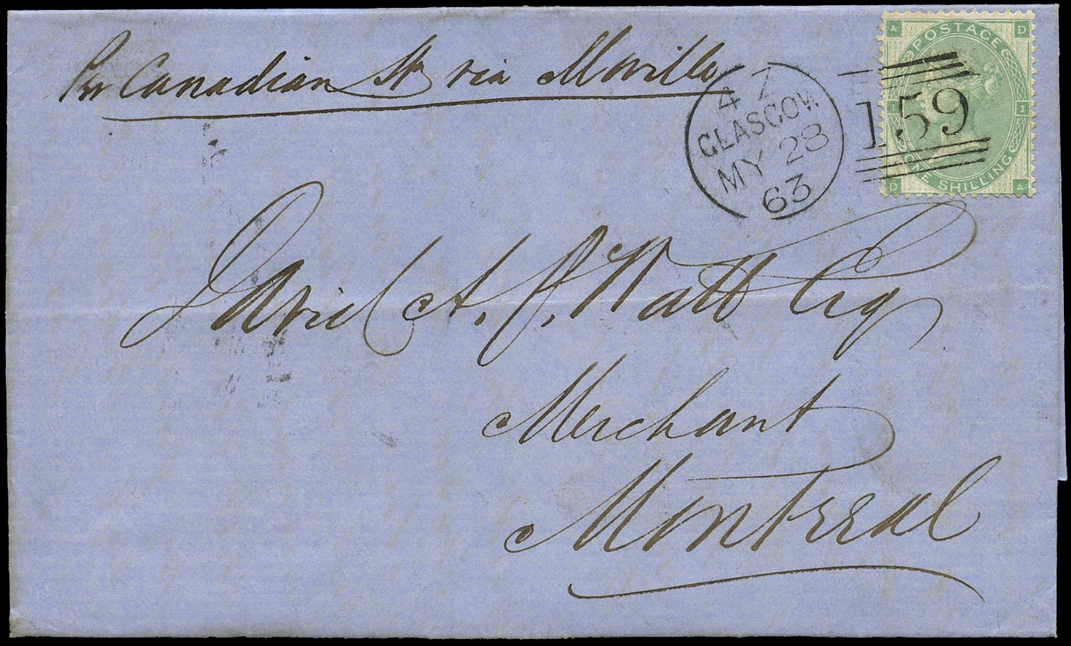 GB 1863  SG90 Pl.2 Cover to Montreal, Canada