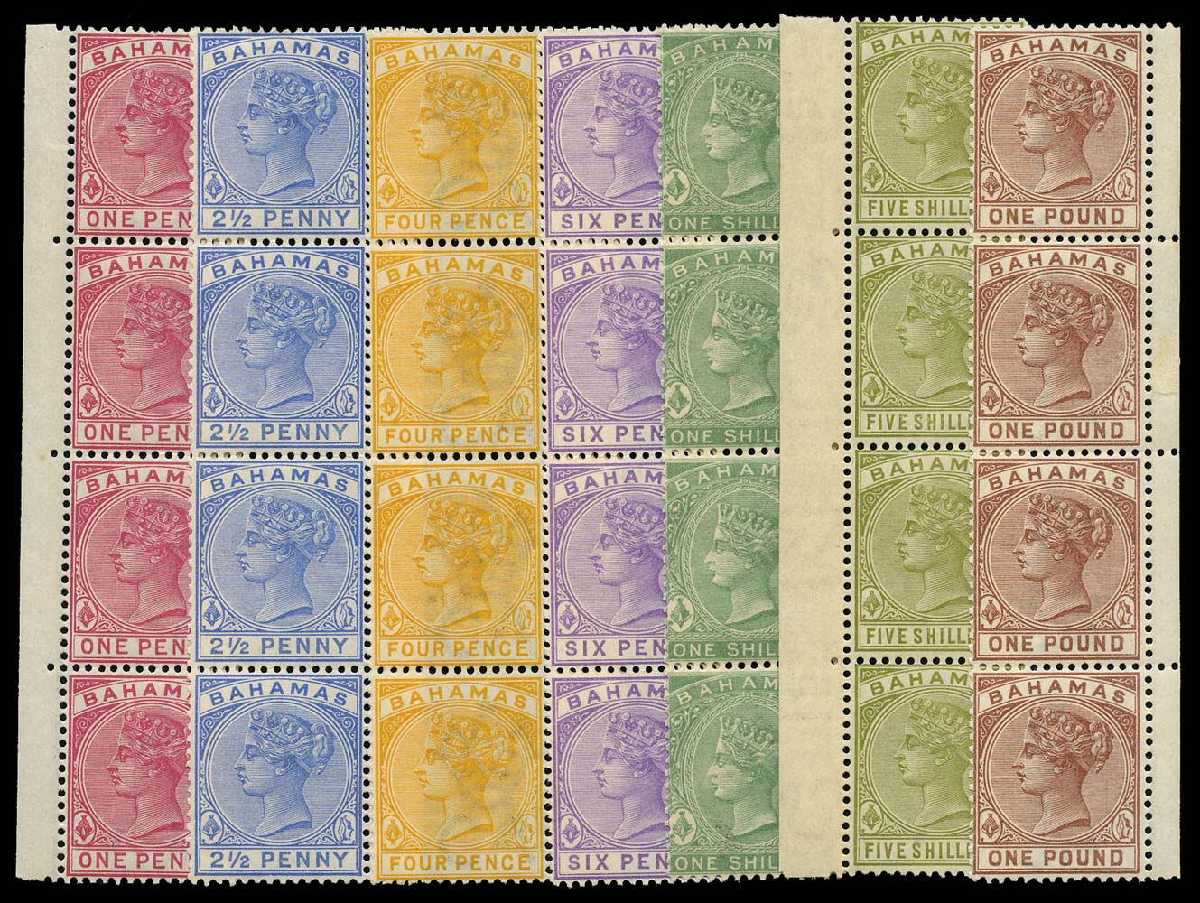 BAHAMAS 1884  SG44, 49/57 Mint