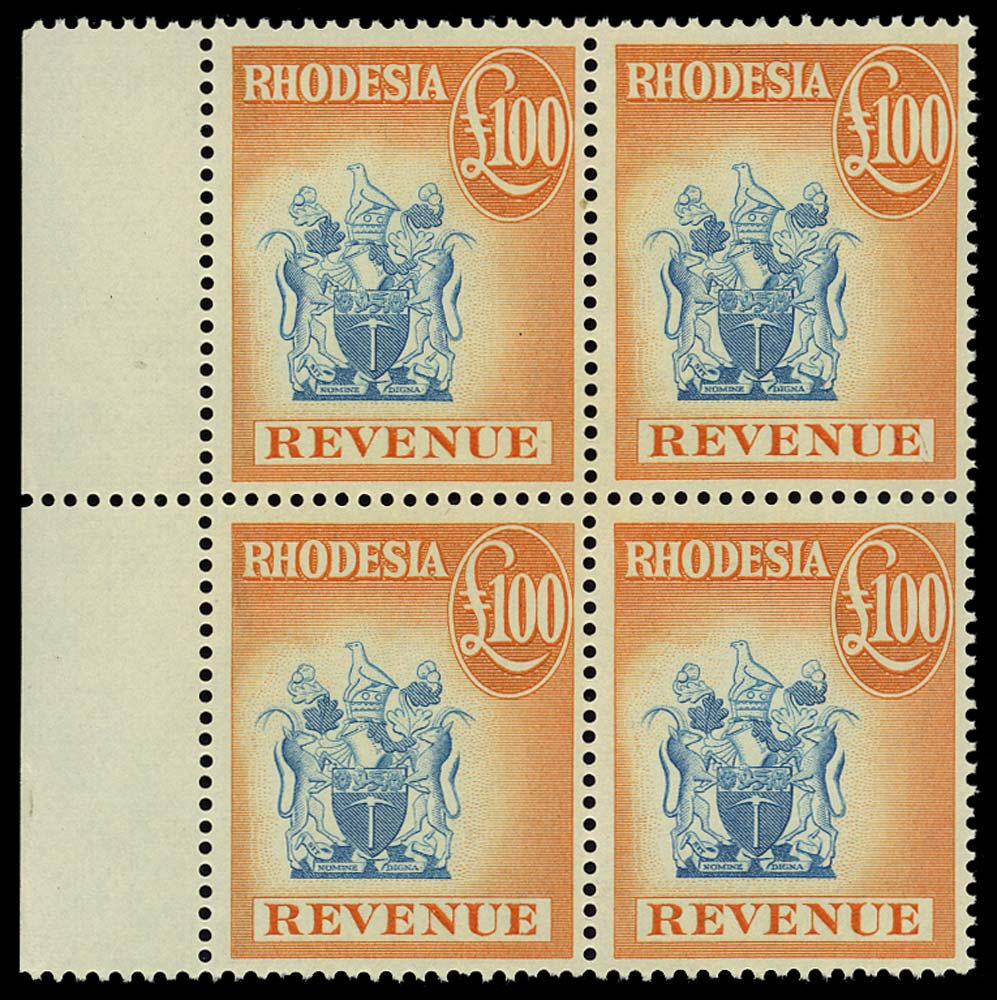 RHODESIA 1966 Revenue £100 blue and orange Block of 4