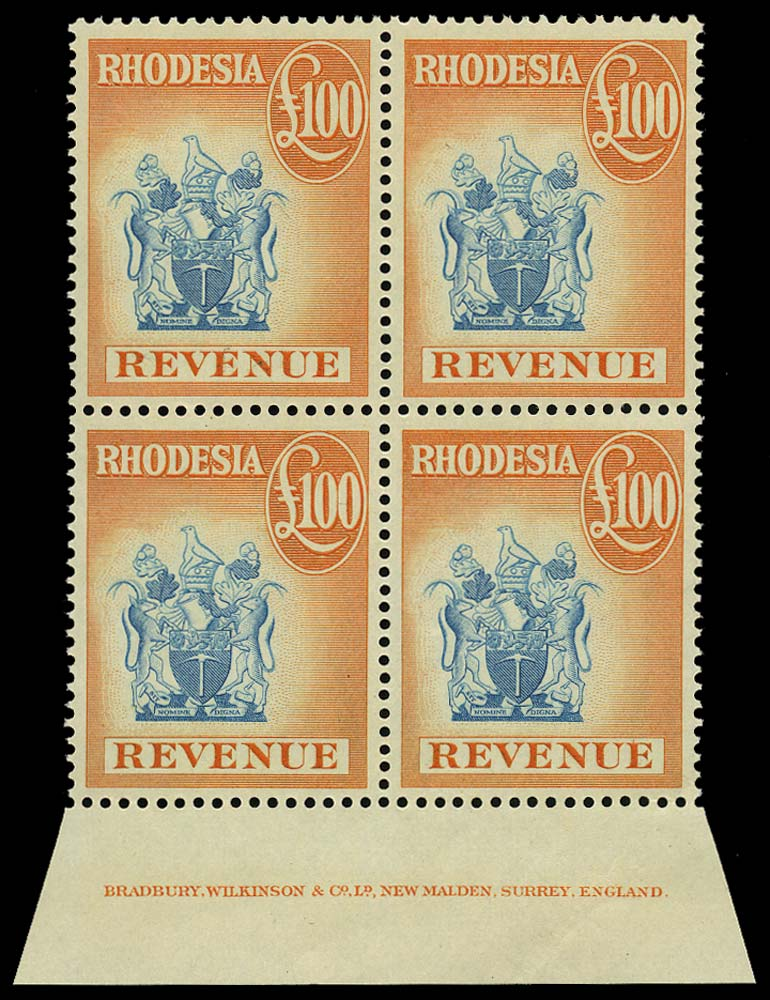 RHODESIA 1966 Revenue £100 blue and orange Imprint Block