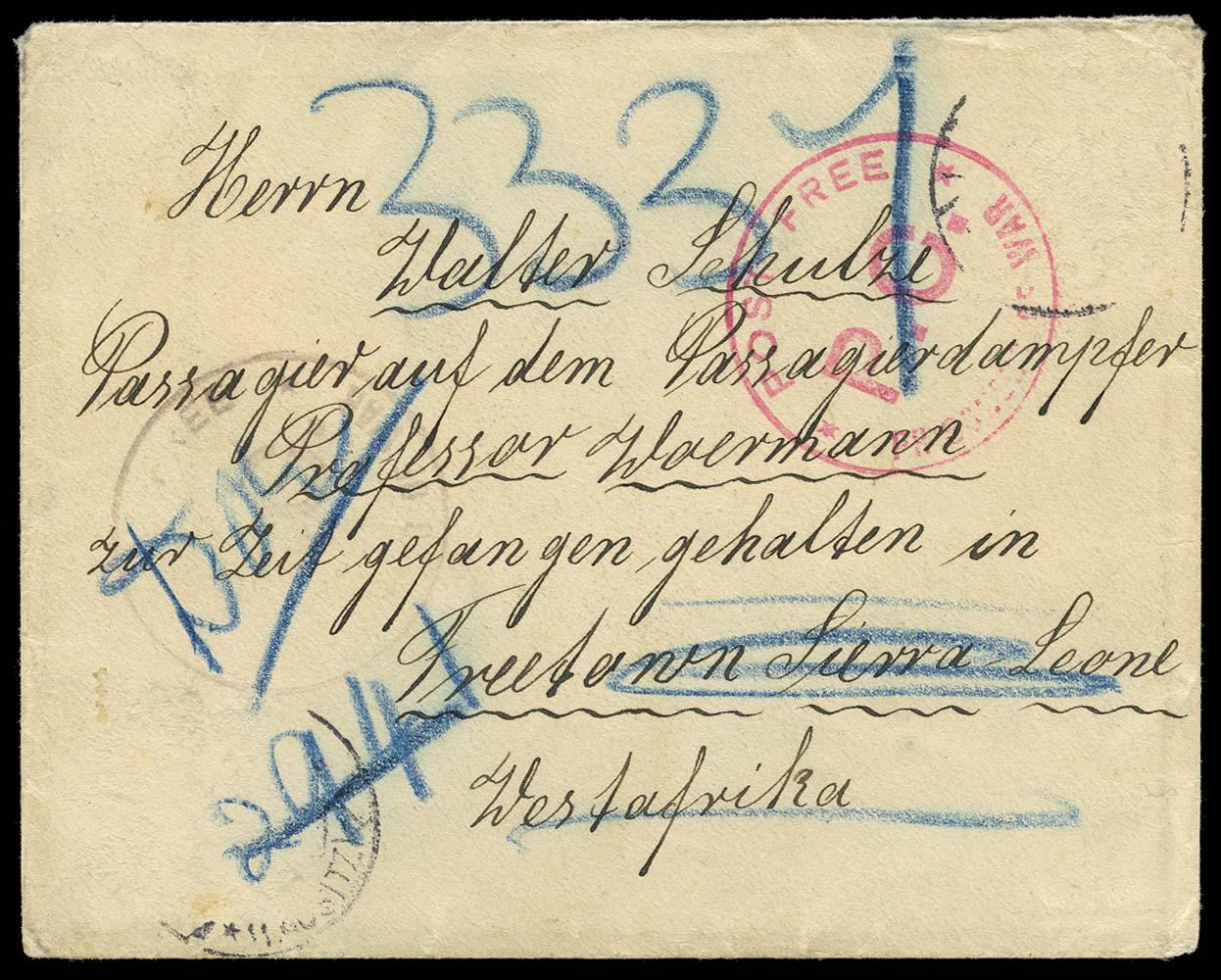 SIERRA LEONE 1915 Cover WWI Prisoner of War Mail