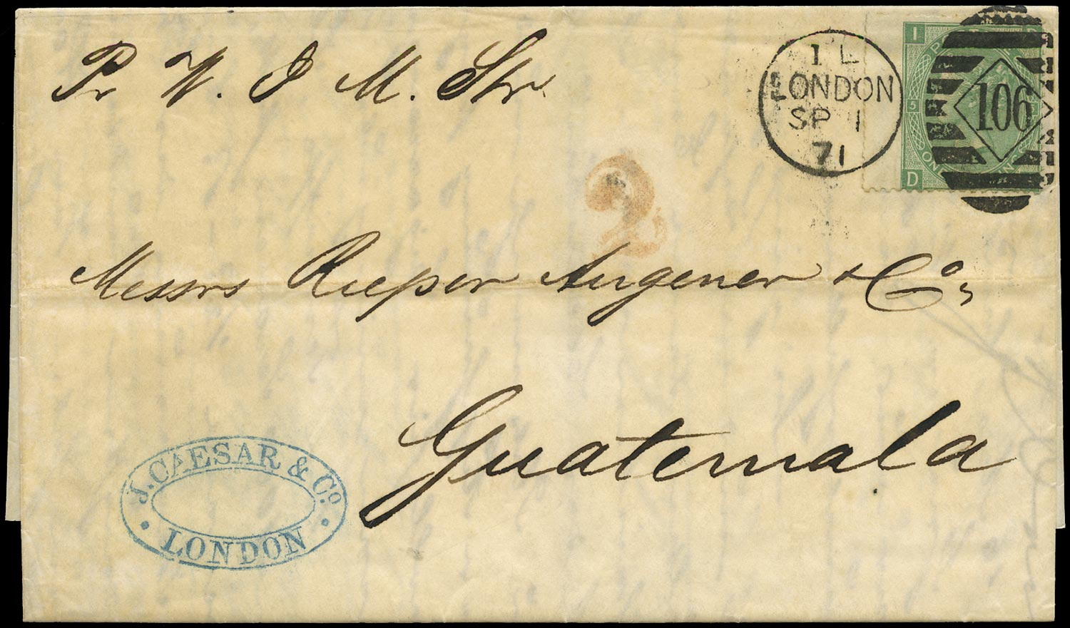 GB 1871  SG117 Pl.5 Cover to Guatemala