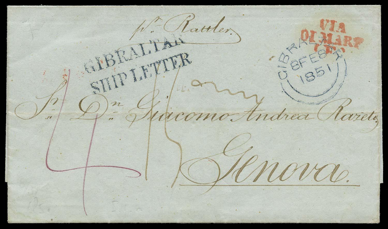 GIBRALTAR 1851 Cover