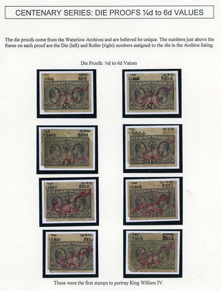 CAYMAN ISLANDS 1932  SG84/95 Proof