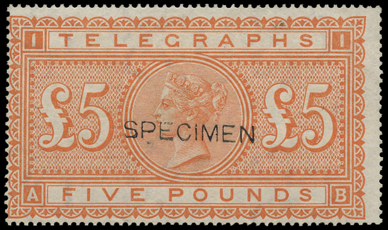 GB 1877  SGT18s Pl.1 Telegraph £5