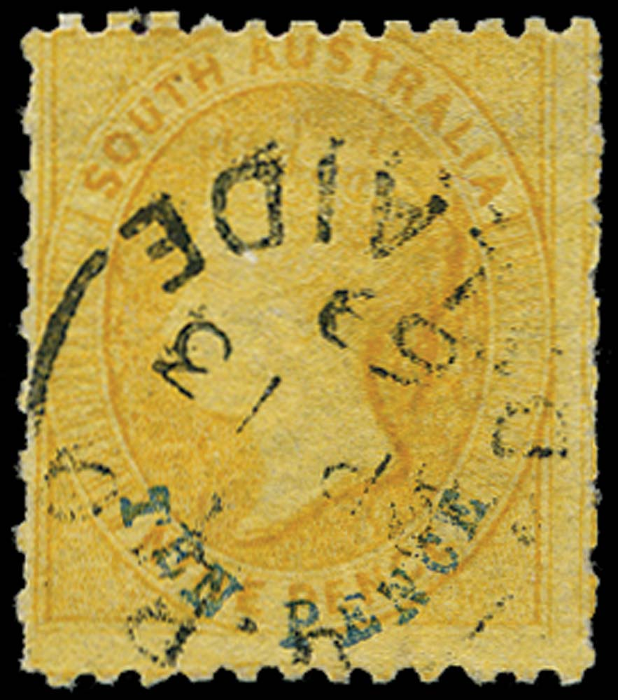 SOUTH AUSTRALIA 1867  SG59a Used 10d on 9d printed both sides