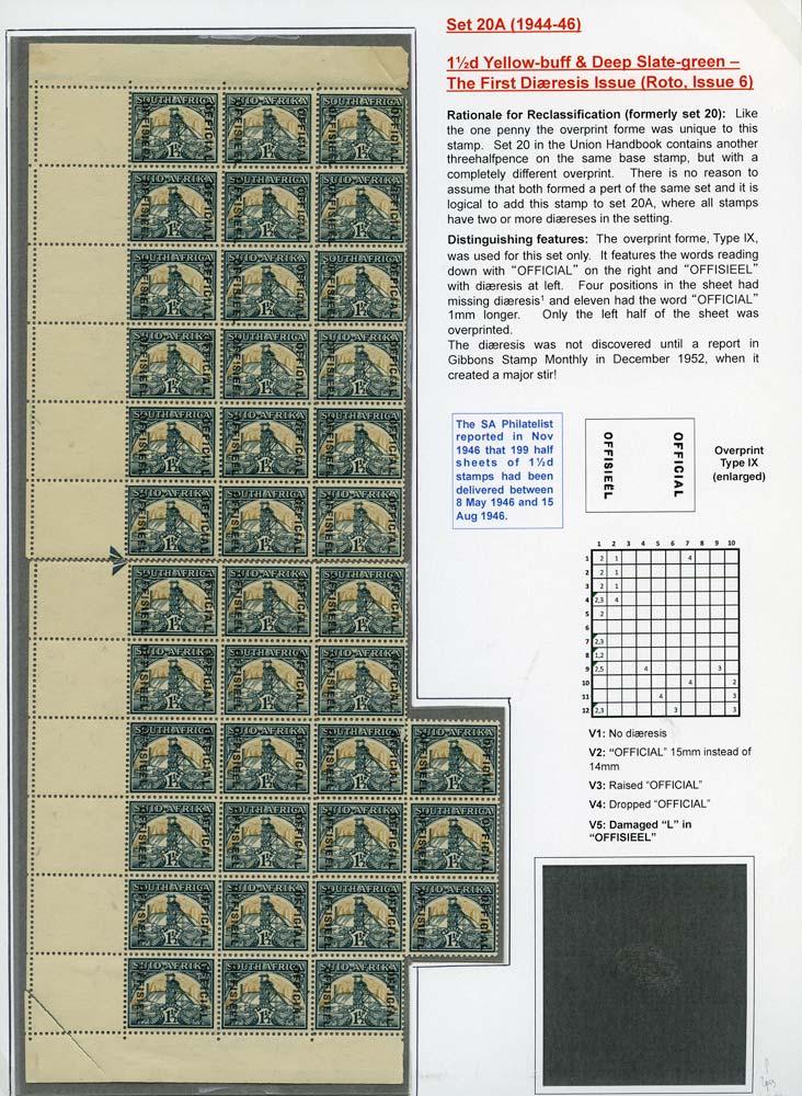 SOUTH AFRICA 1944  SGO33a/var Official