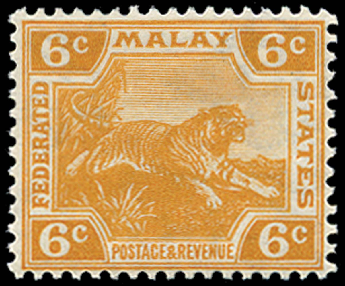 MALAYA - F.M.S. 1922  SG63w Mint unmounted 6c orange Leaping Tiger Script watermark variety Crown to Right