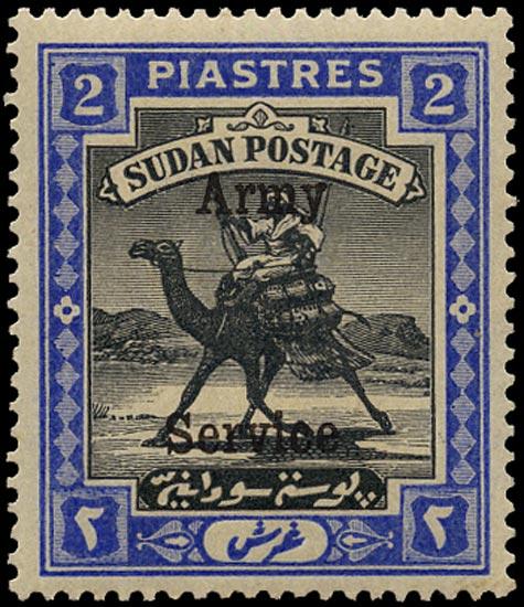 SUDAN 1906  SGA14 Official Army Service 2p watermark quatrefoil