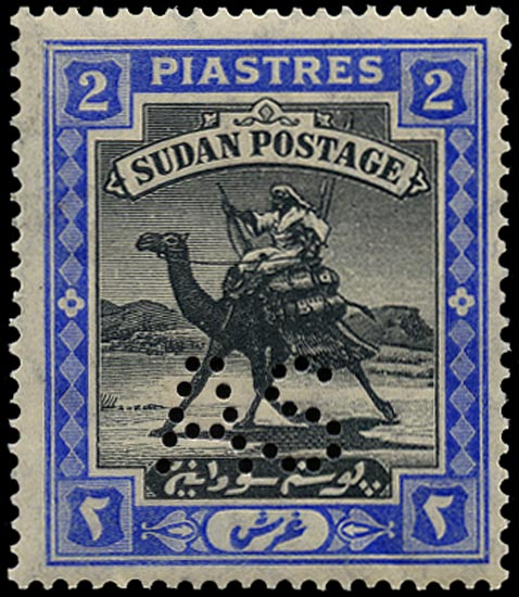 SUDAN 1913  SGA22 Official Army Service 2p black and blue unmounted