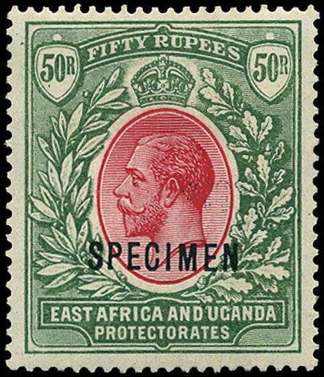 KUT 1921  SG75s Specimen 50r carmine and green watermark Script