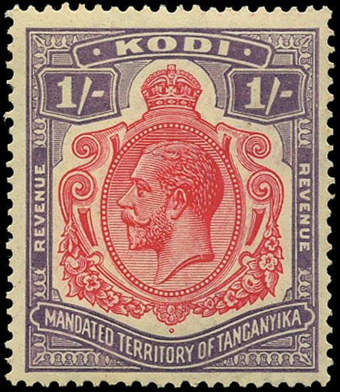 TANGANYIKA 1934 Revenue Kodi 1s purple and rose-red