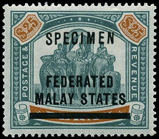 MALAYA - F.M.S. 1900  SG14s Specimen $25 green and orange overprint on Perak