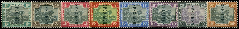 MALAYA - F.M.S. 1901  SG15s/22s Specimen Tiger set of 8 to 50c watermark CA