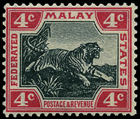 MALAYA - F.M.S. 1914  SG36f Mint Leaping Tiger 4c jet black and rose