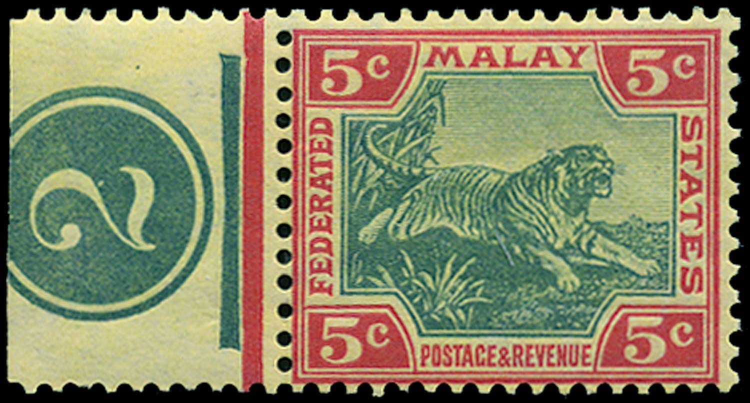 MALAYA - F.M.S. 1906  SG39aw Mint 5c watermark Crown to right