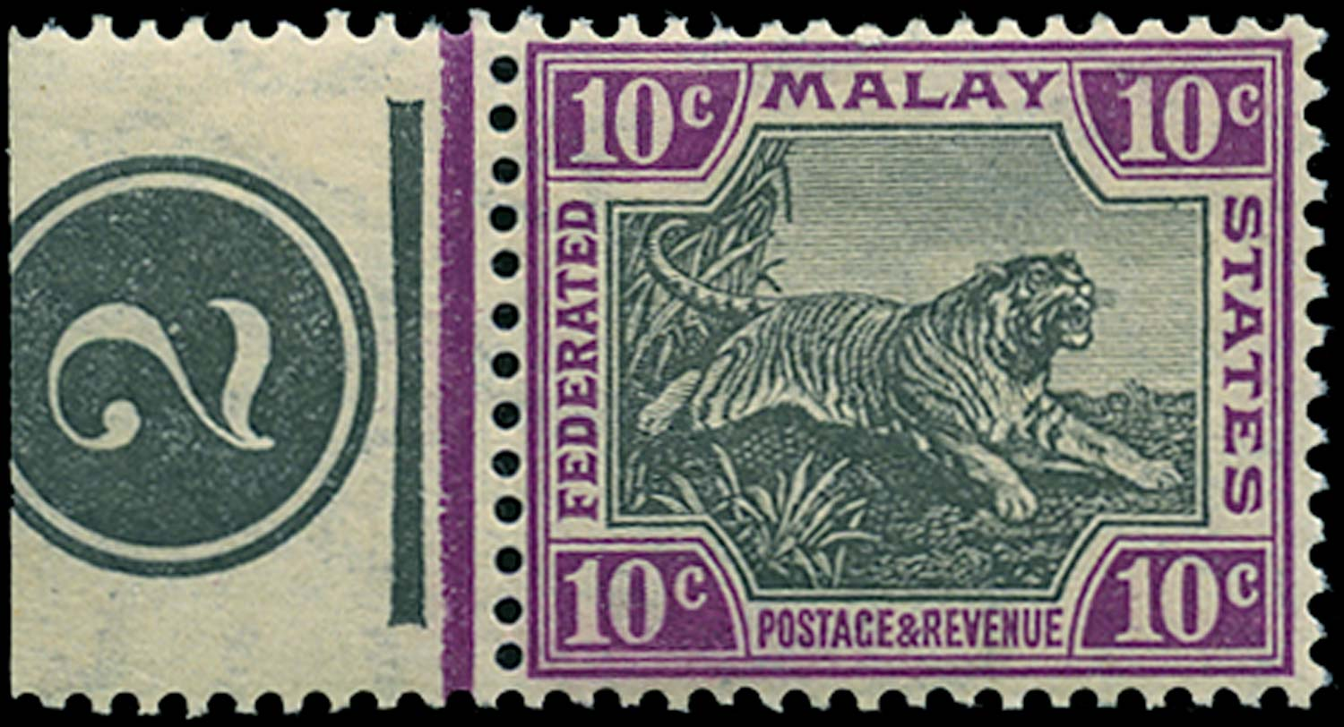 MALAYA - F.M.S. 1905  SG43bw Mint 10c watermark Crown to right of CA