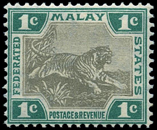MALAYA - F.M.S. 1904  SG27a Mint 1c grey-brown and green watermark MCA