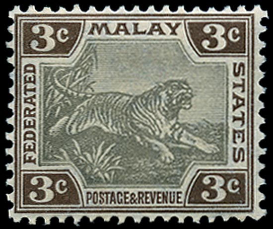 MALAYA - F.M.S. 1905  SG32a Mint 3c grey-brown and brown watermark MCA