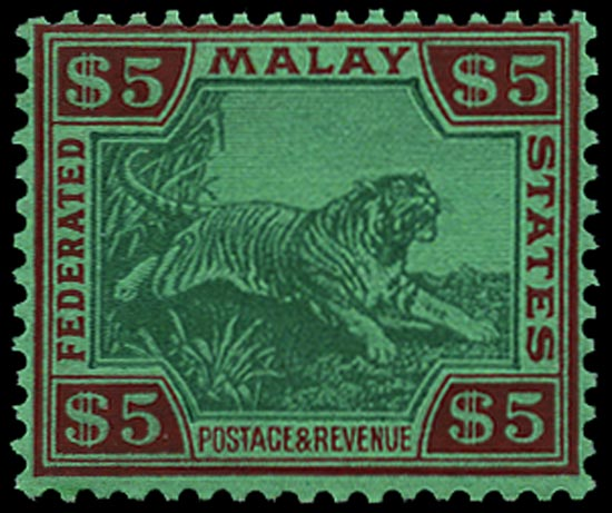 MALAYA - F.M.S. 1934  SG81 Mint Tiger $5 green and red unmounted