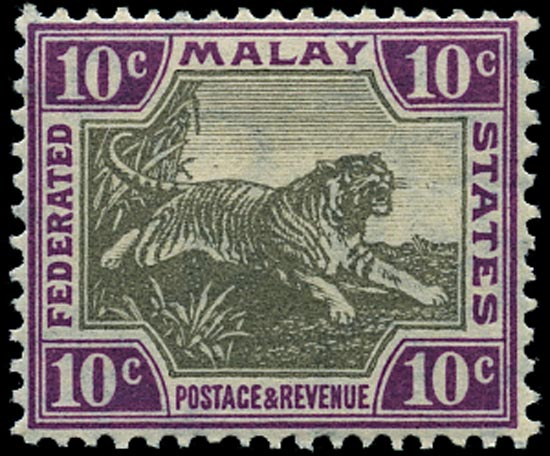 MALAYA - F.M.S. 1904  SG43 Mint Tiger 10c grey-brown and claret