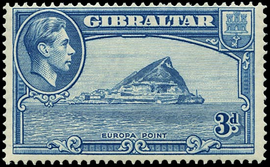 GIBRALTAR 1938  SG125a Mint 3d light blue perf 14 unmounted