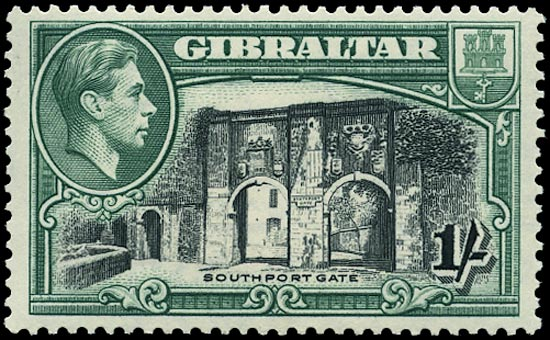 GIBRALTAR 1938  SG127a Mint 1s black and green perf 13½ unmounted