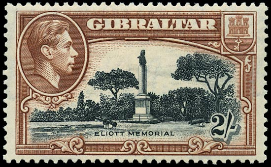 GIBRALTAR 1938  SG128a Mint 2s black and brown perf 13½ unmounted