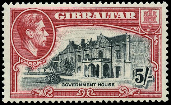 GIBRALTAR 1938  SG129a Mint 5s black and carmine perf 13½ unmounted